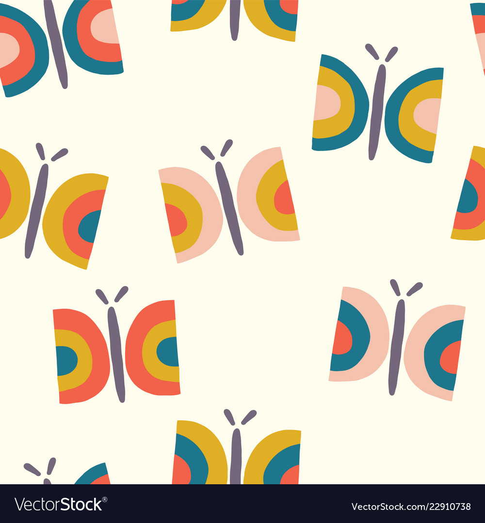 Retro butterfly seamless pattern background