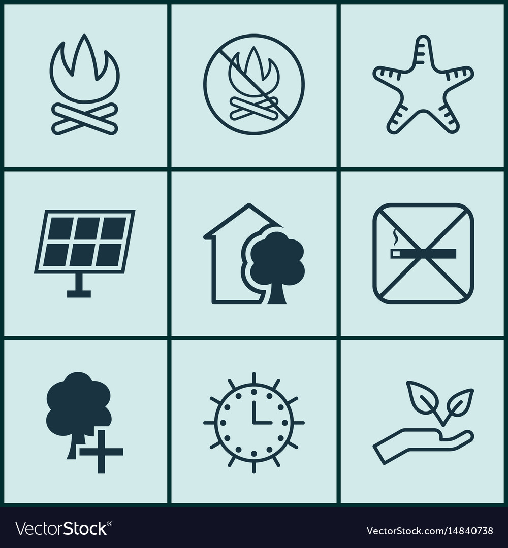 Set of 9 eco-friendly icons includes sun clock