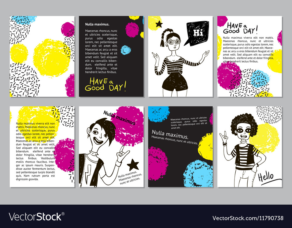 Set of creative universal geometric doodle cards vector image