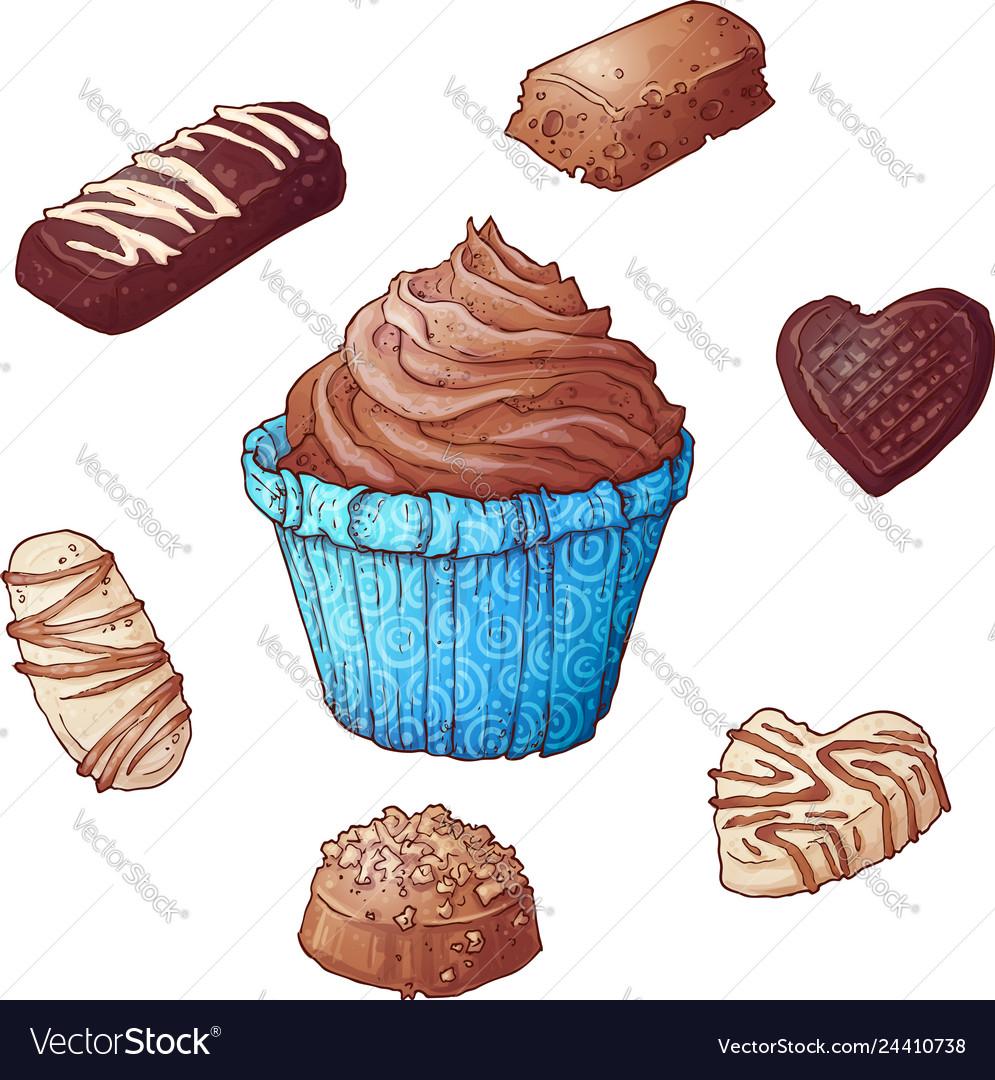 Set of cupcakes chocolates hand drawing