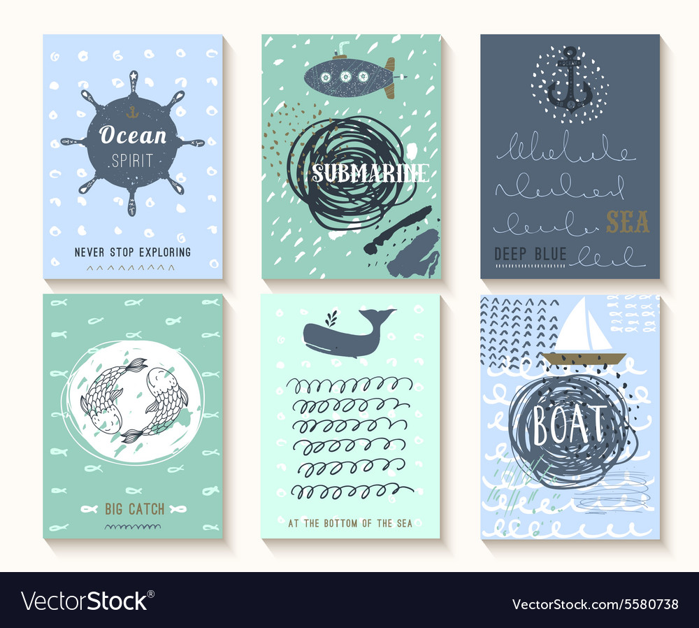 Set of hand drawn vintage nautical cards with