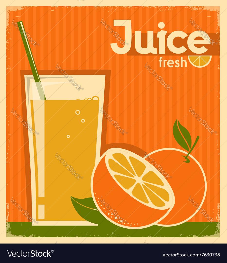 Vintage poster of orange juice on old paper