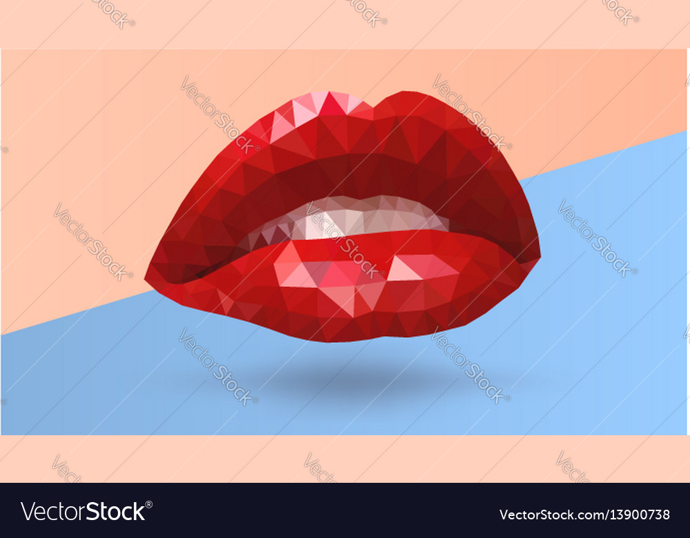 Women seductive scarlet lips made from triangle