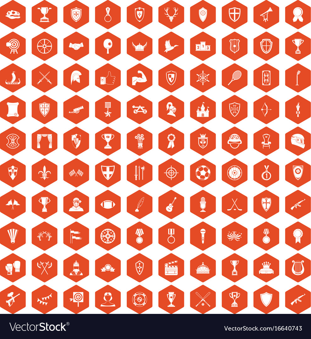 100 trophy and awards icons hexagon orange vector image
