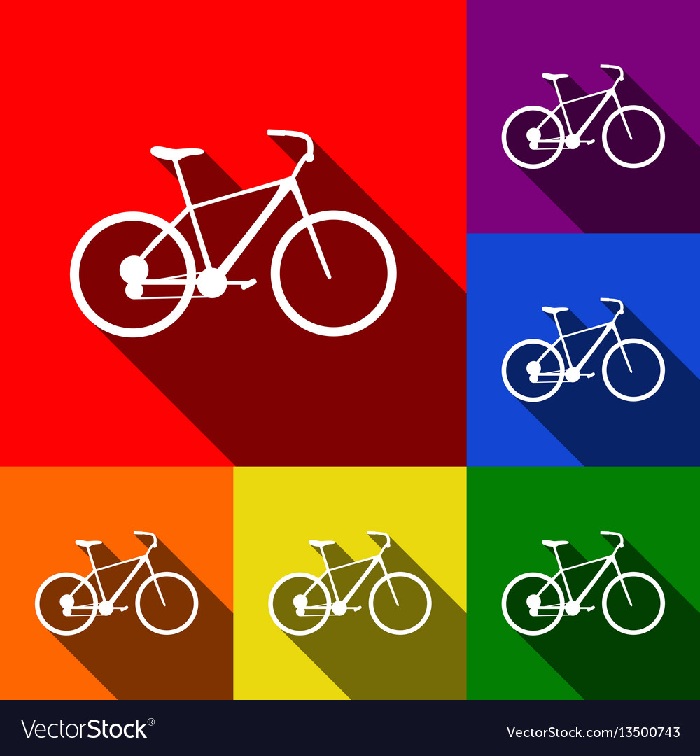Bicycle bike sign set of icons with flat