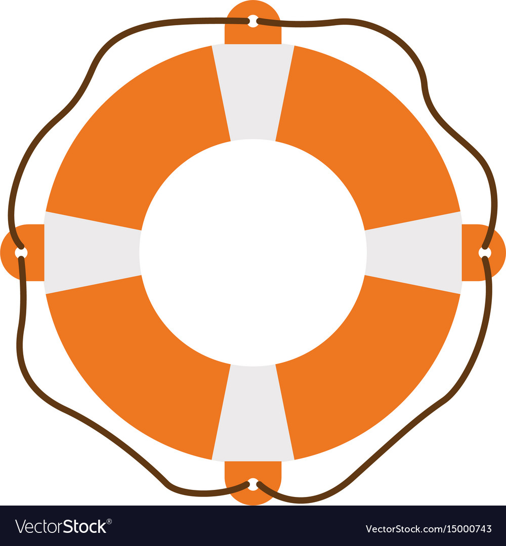 Color silhouette of flotation hoop with rope vector image