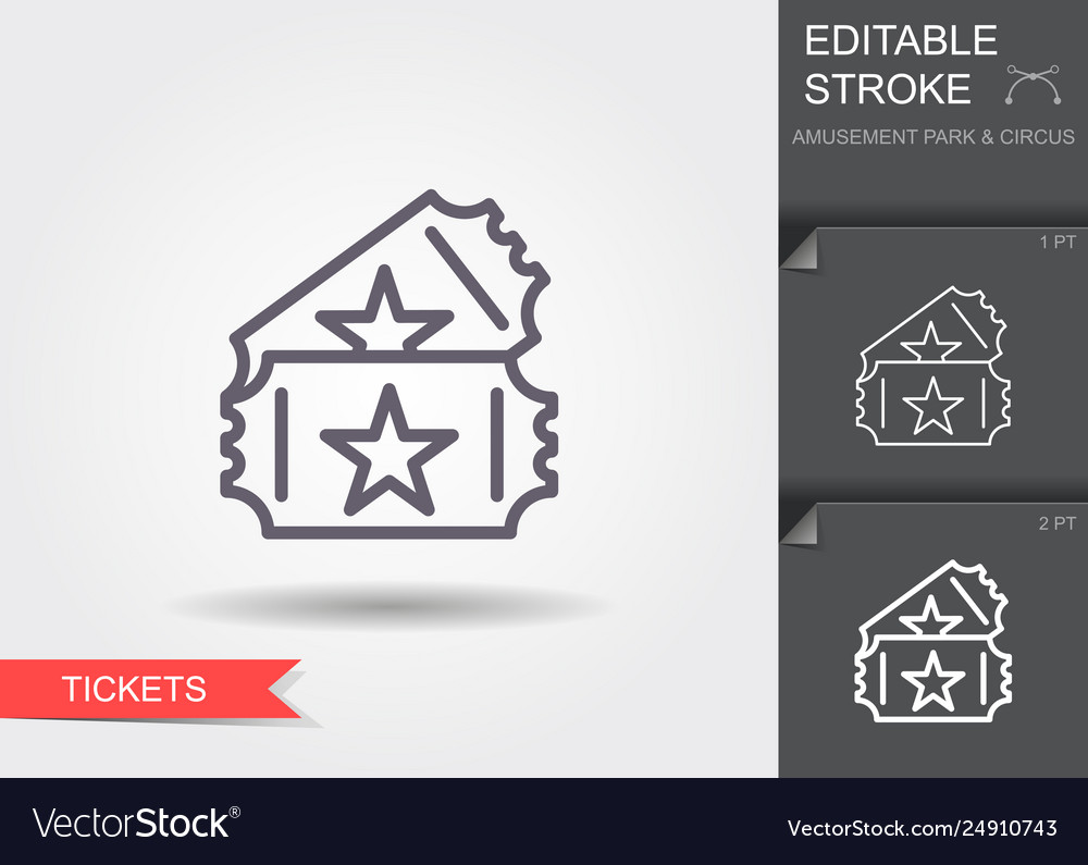 Couple event tickets line icon with shadow and