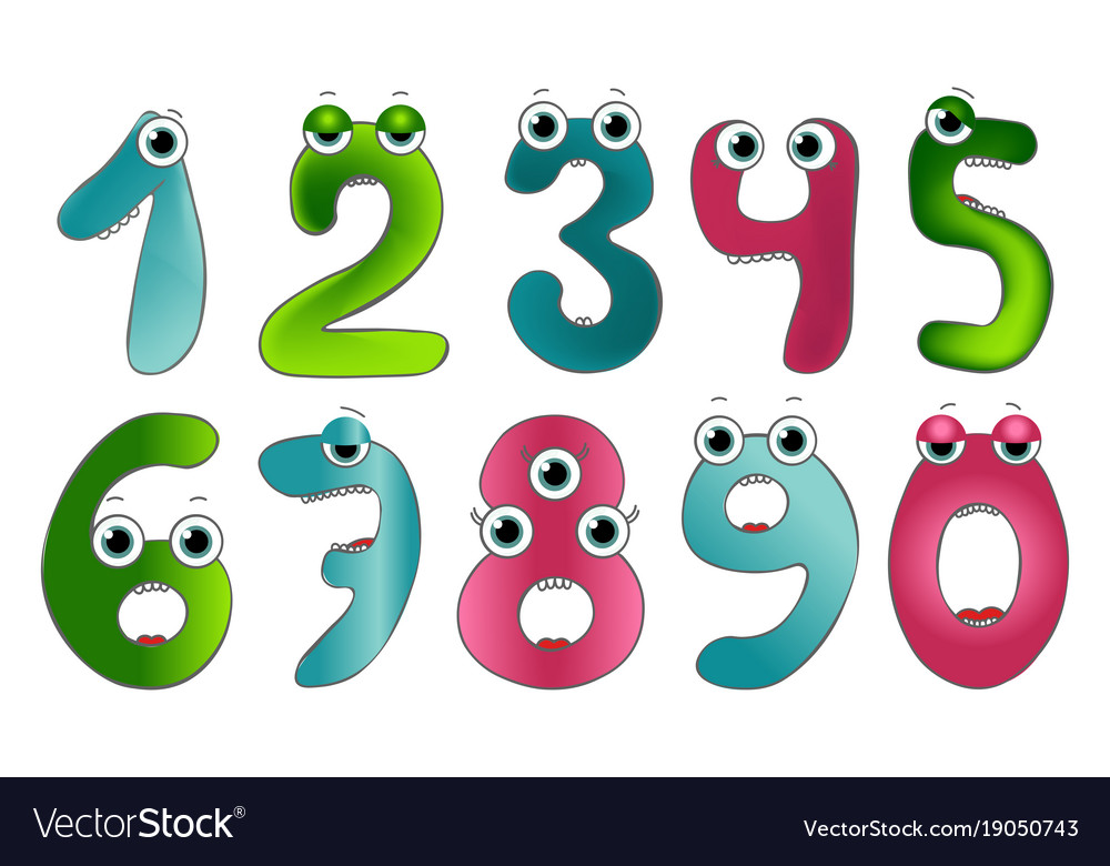 Funny Cute Monster Numbers Colorful Vector Image