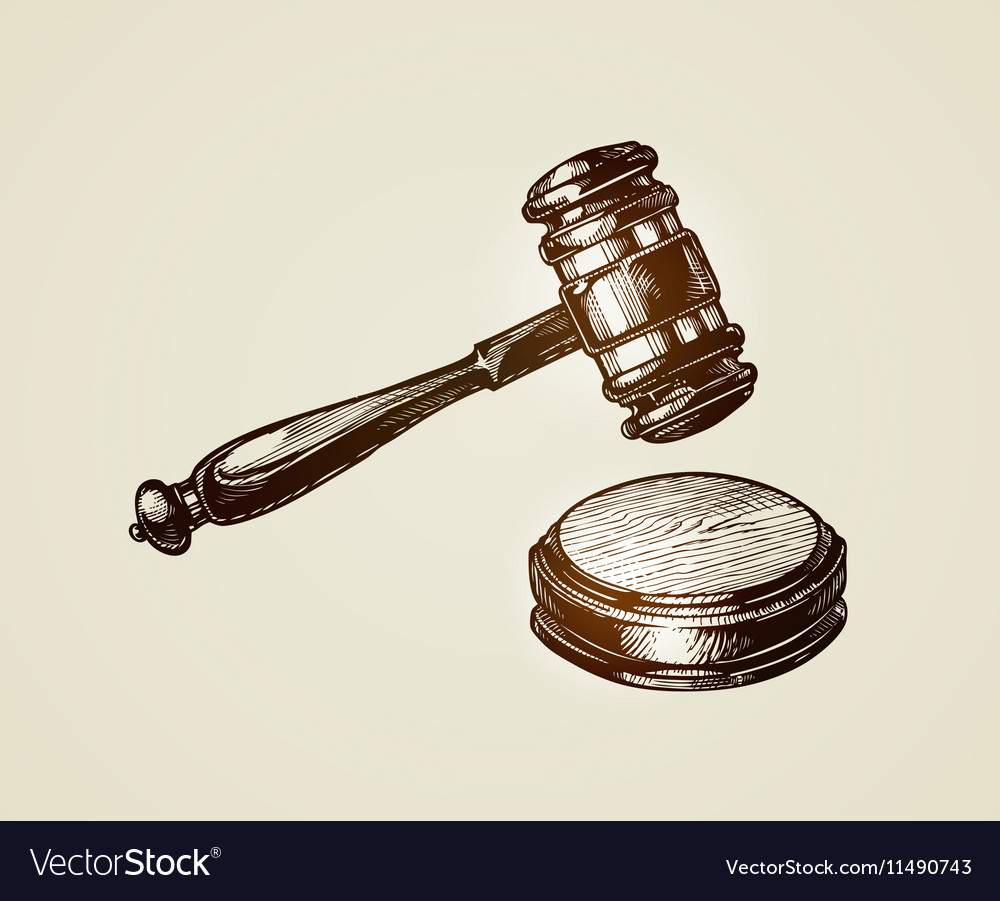Gavel hammer of judge or auctioneer Sketch vector image