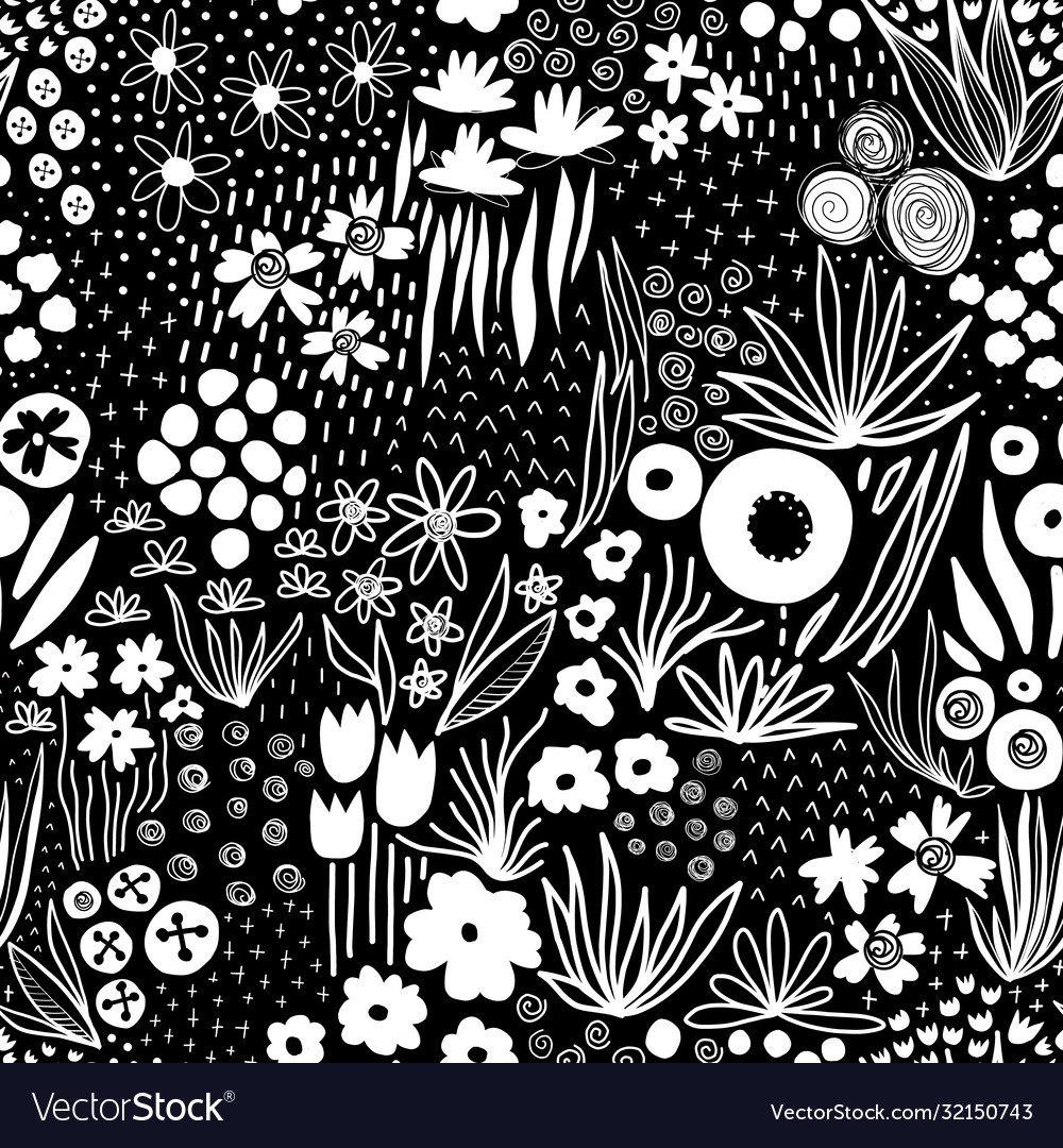 Repeating white liberty doodle flower meadow on