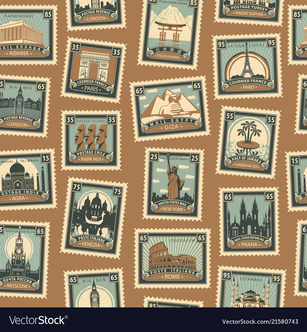 Seamless pattern with postmarks on travel theme