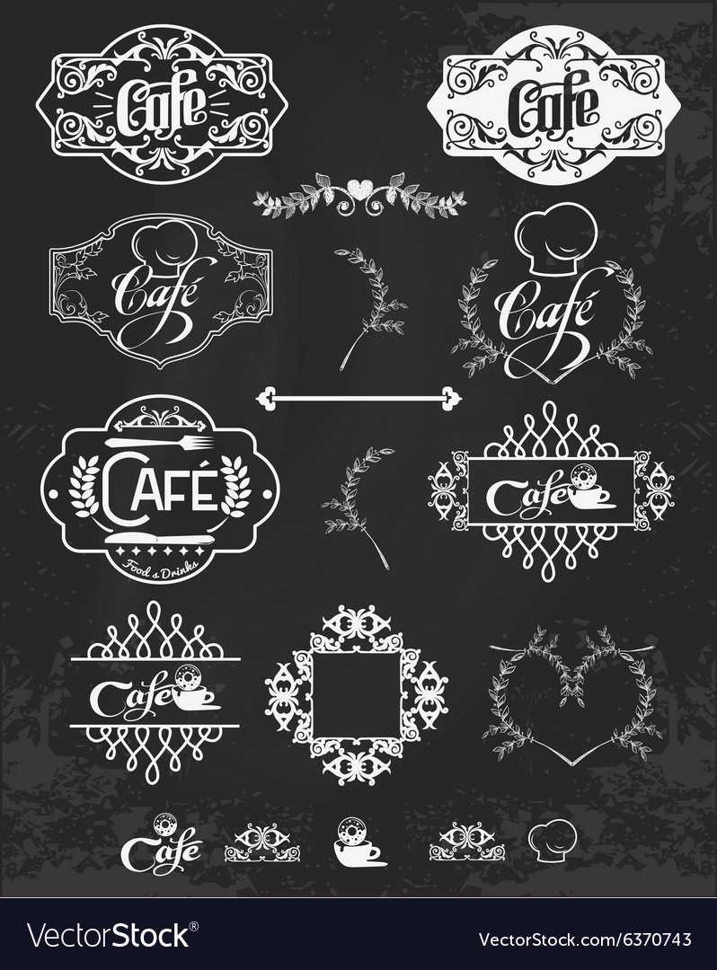 Set of cafe labels design elements