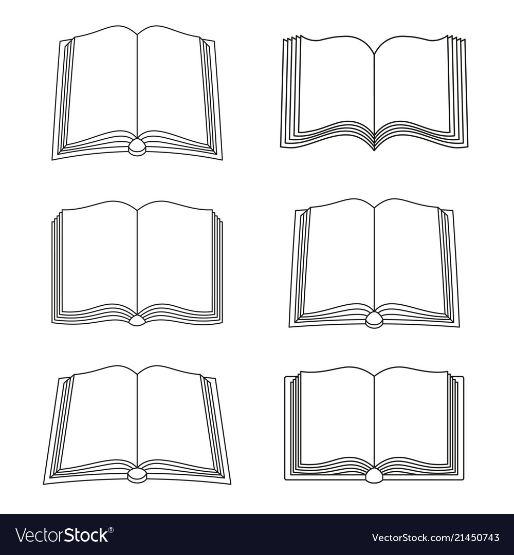 Set open book icons isolated