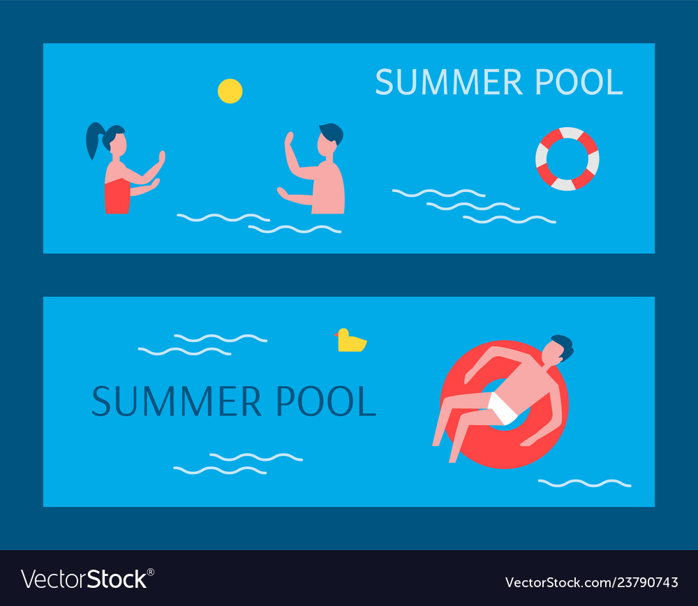 Summer pool posters swimming