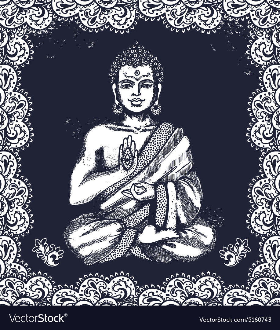 Vintage with buddha in meditation