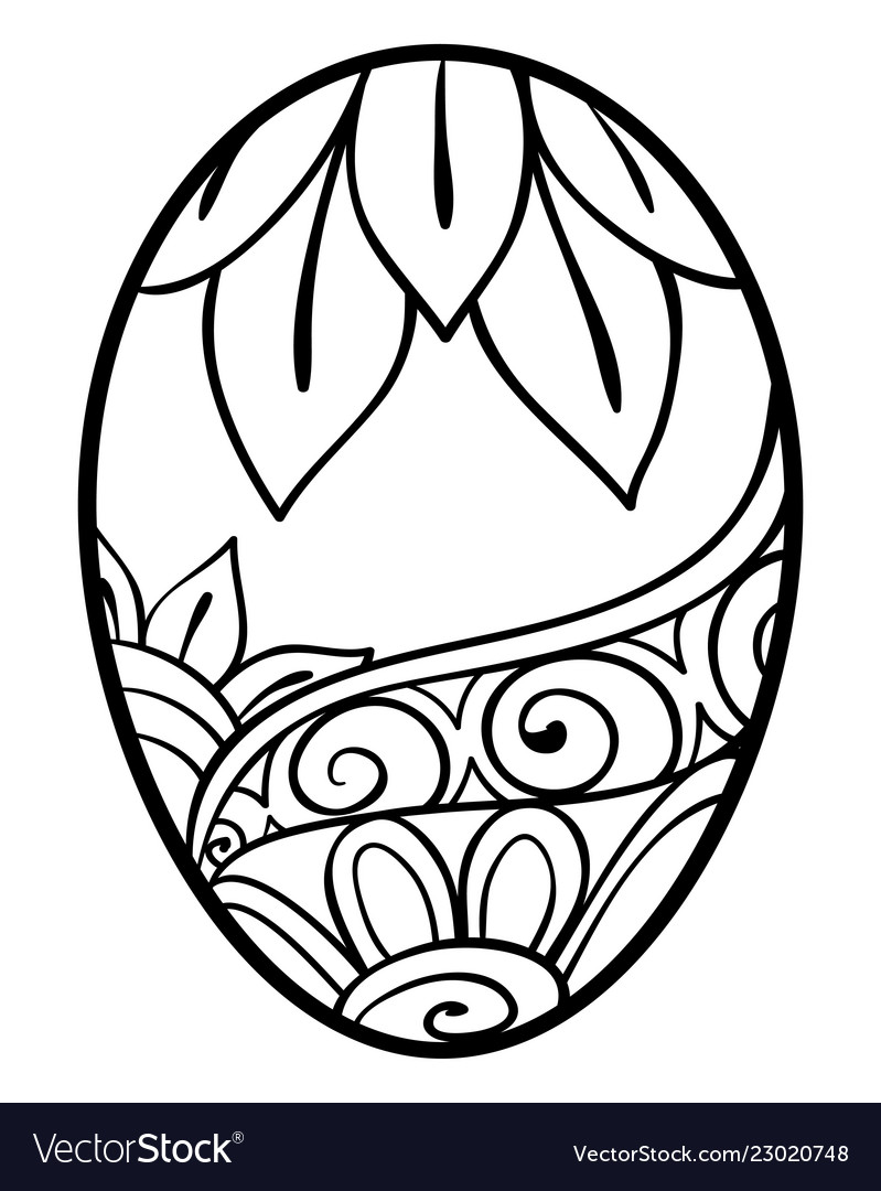 Adult coloring bookpage an easter egg image for Vector Image