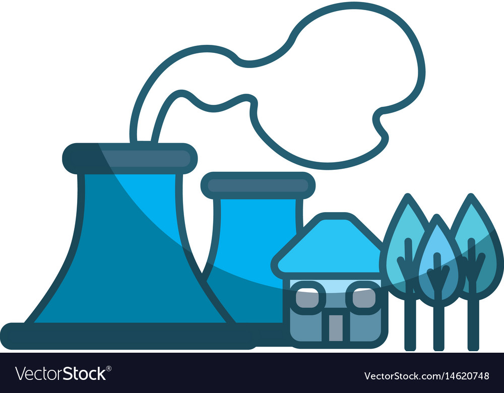 Blue factory pollution near to trees and house vector image