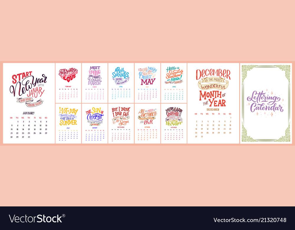 Calendar for months 2 0 1 9 hand drawn