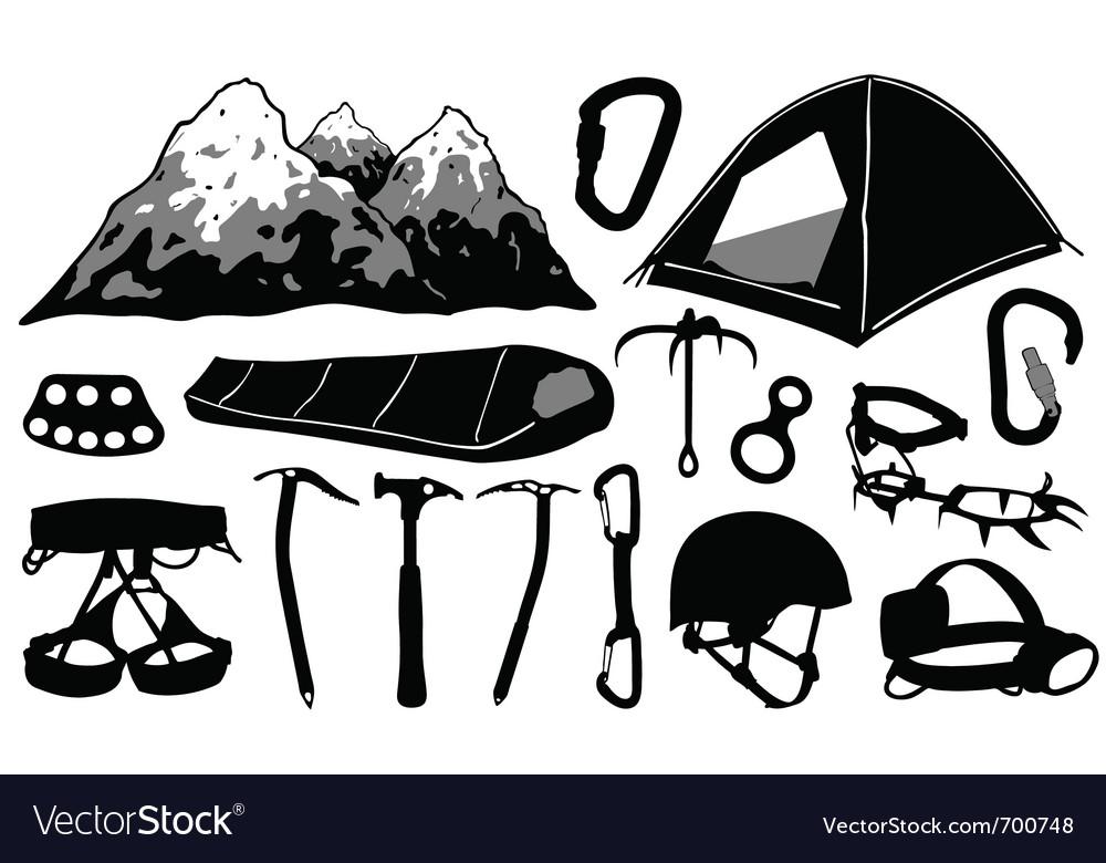 Climbing equipment collage