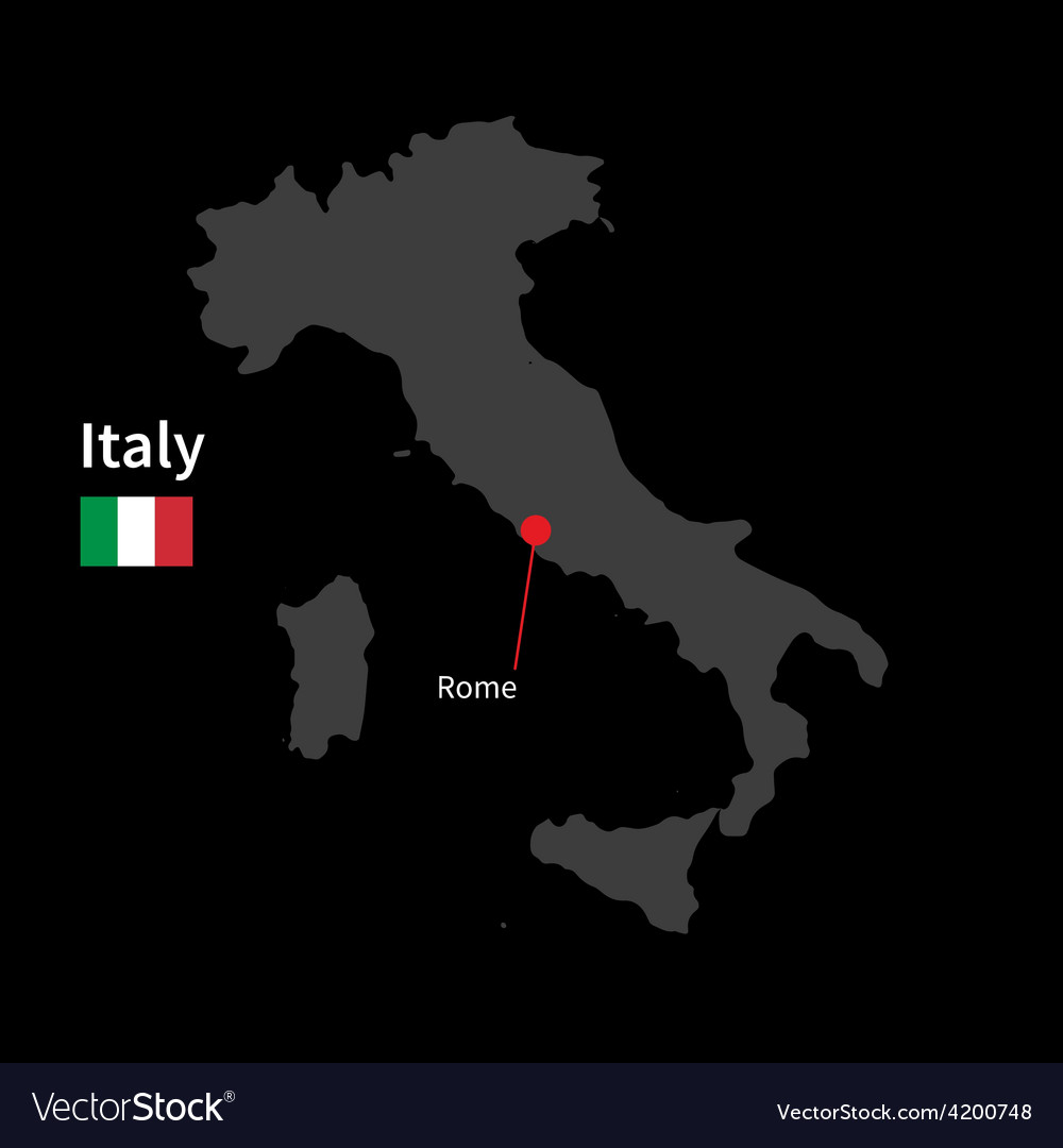 Detailed map of Italy and capital city Rome with Vector Image