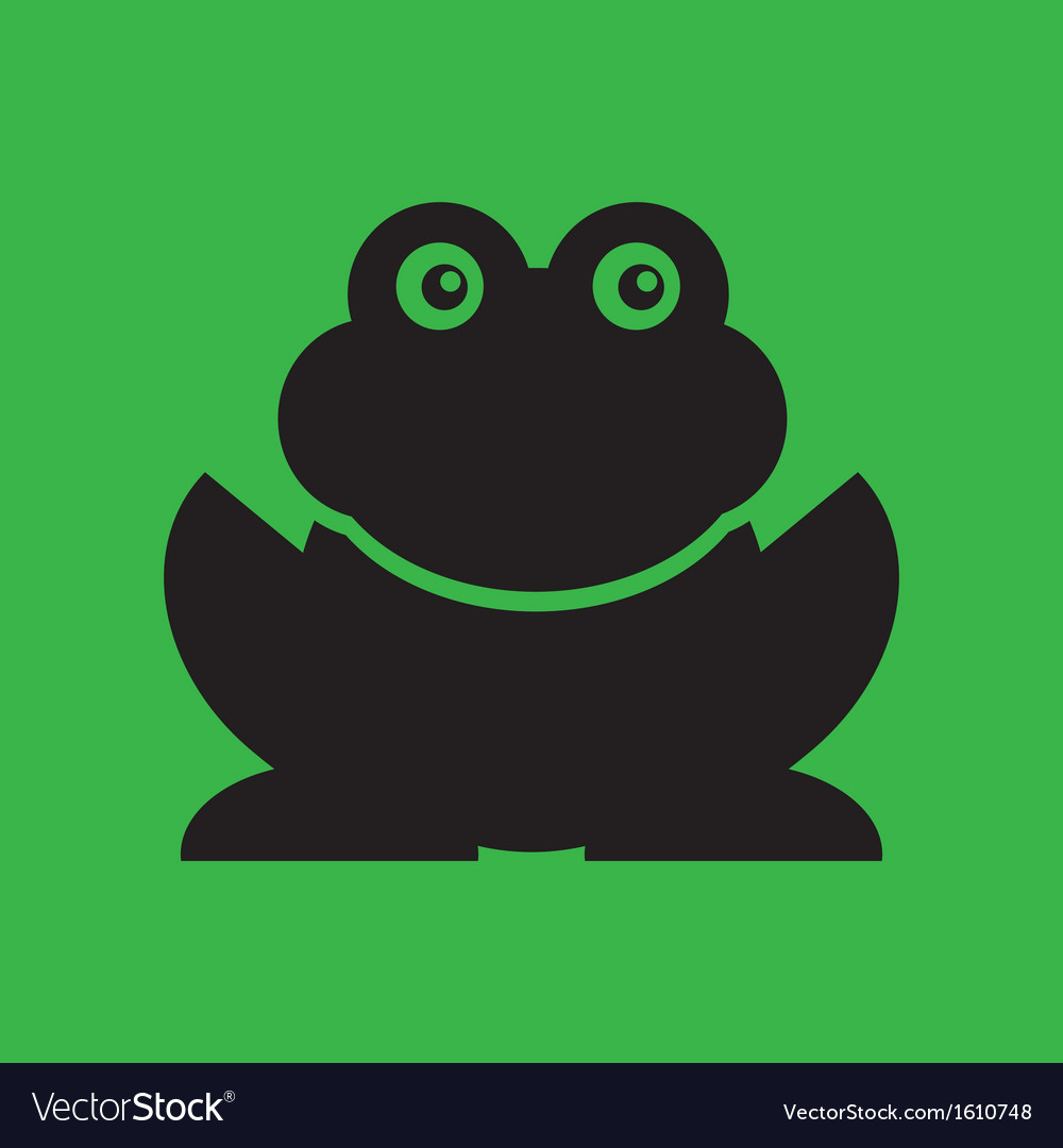 Flat frog on green background