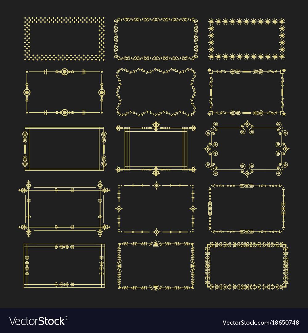 Golden rectangle frames and borders emblem set
