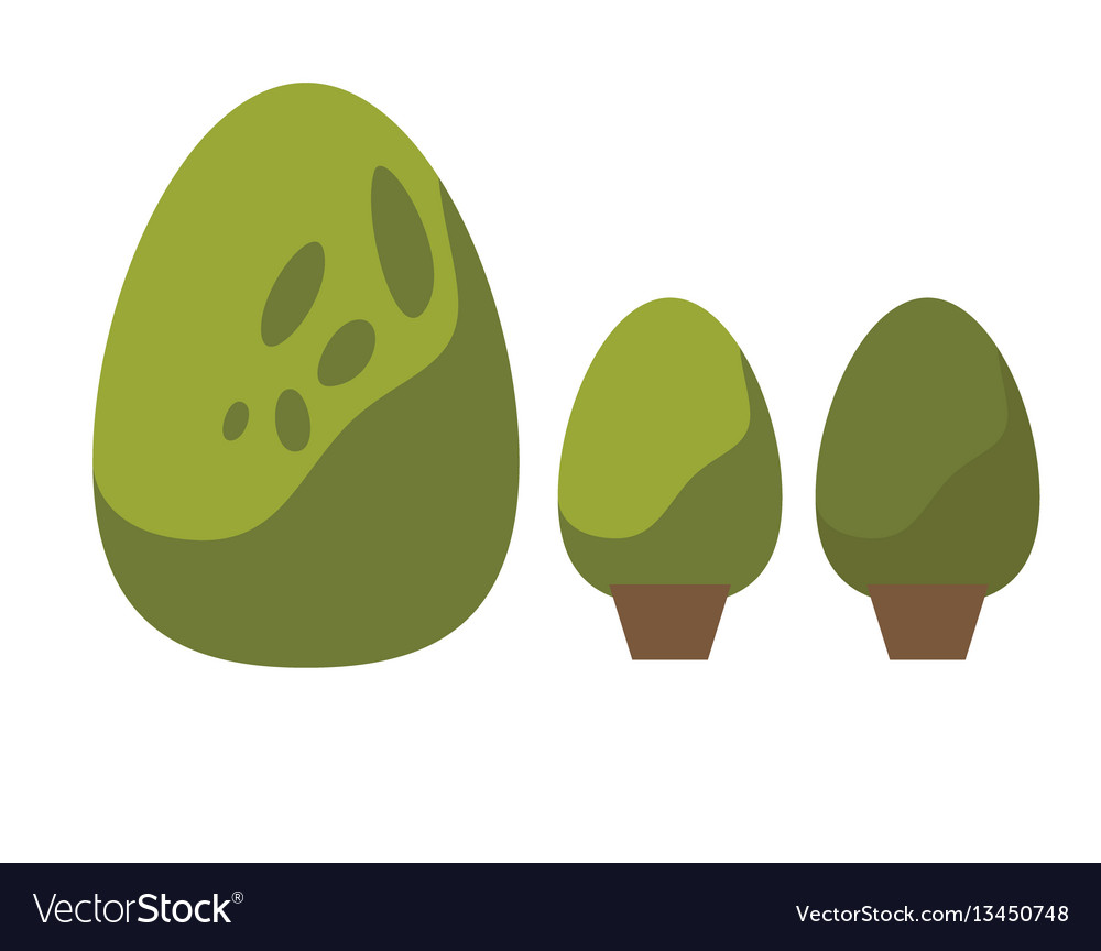 Green bush set isolated vector image