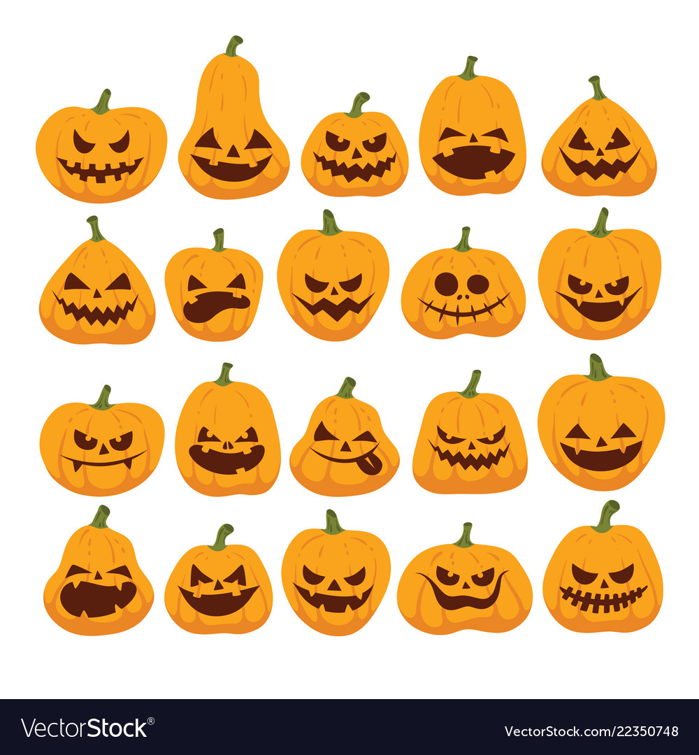 Halloween set of funny and scary pumpkins