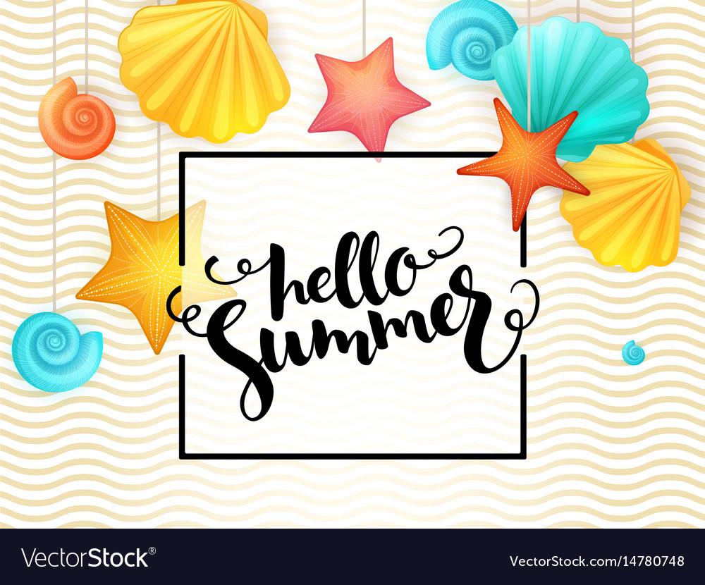 Hand lettering summer phrase - hello summer
