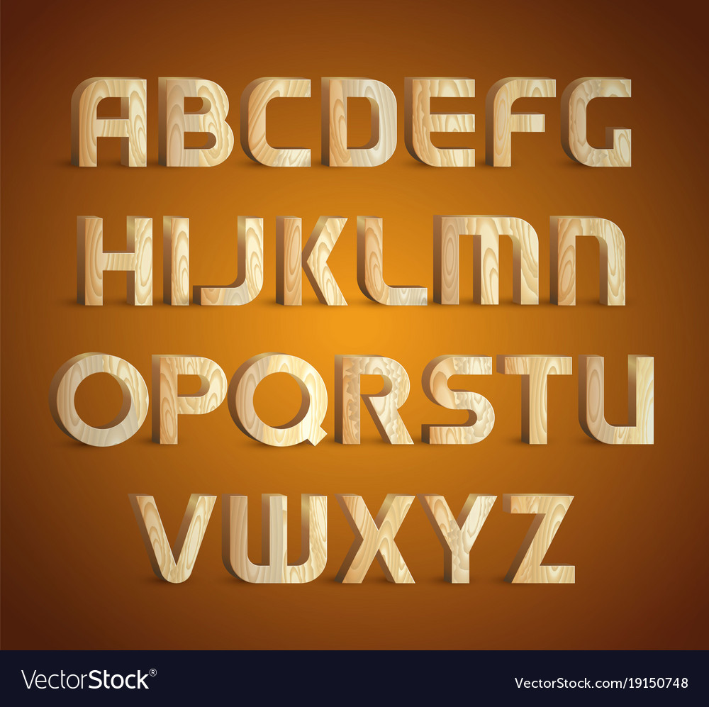 Isolated geometric wood texture font 3d wooden