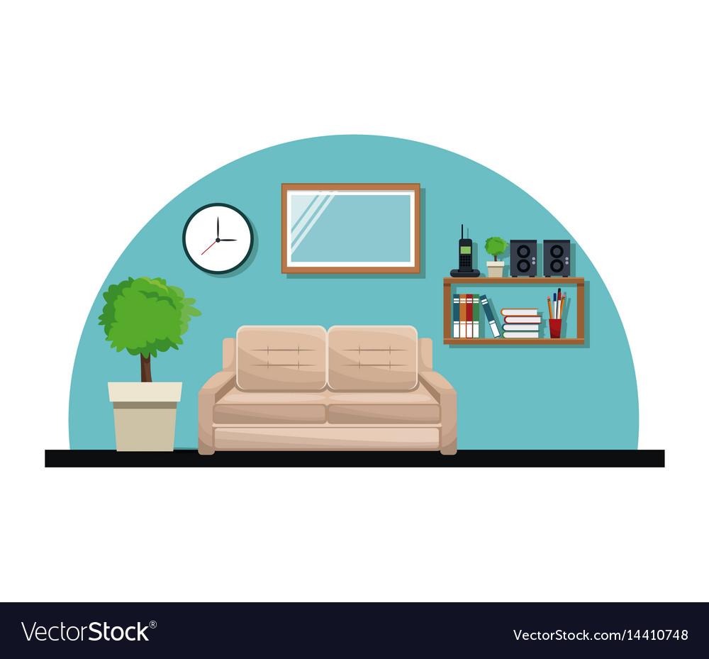 Living room sofa pot tree clock cabinet book