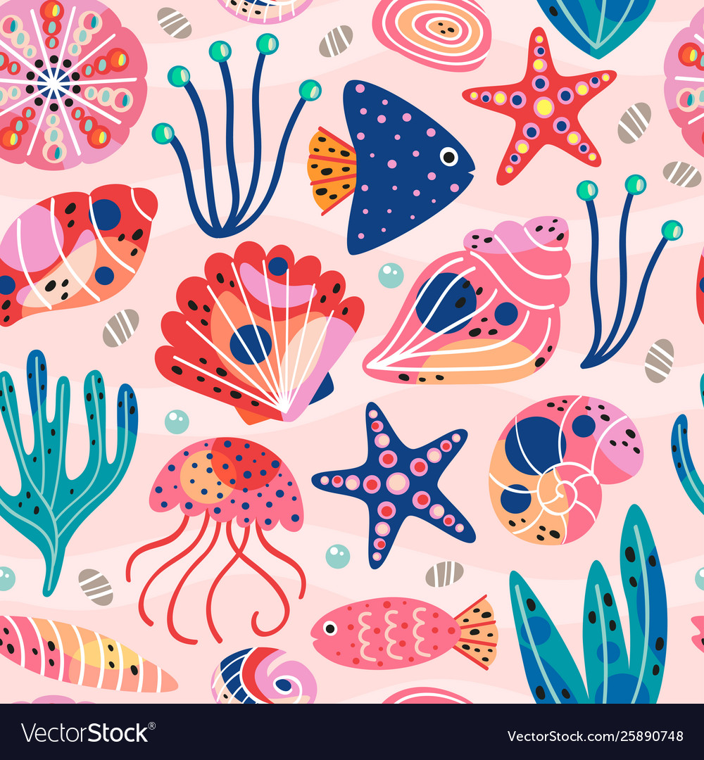 Seamless pattern withunderwater sea life