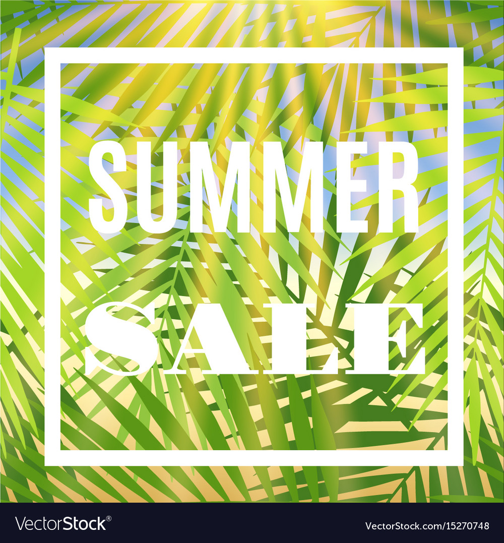 Summer sale banner with palms and sun