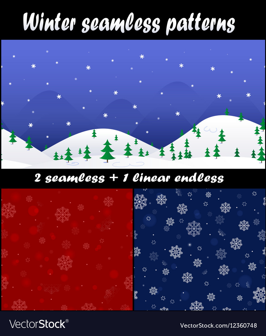 Three christmas and new year seamless pattern
