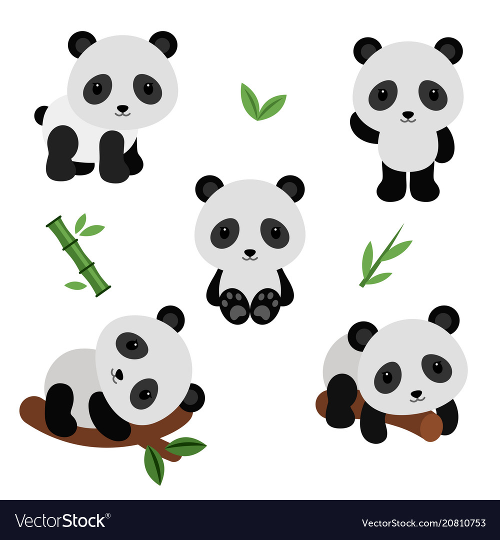Adorable pandas in flat style