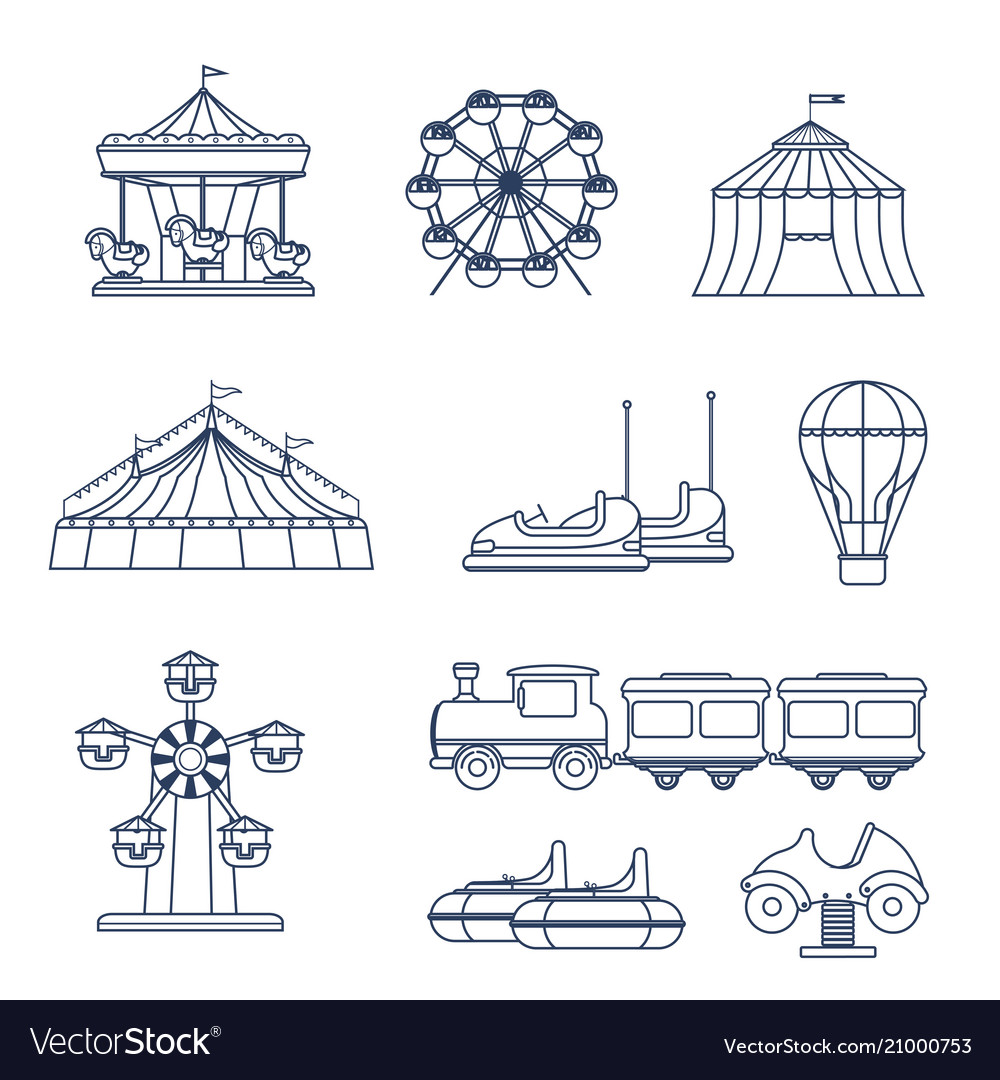 Amusement park icon set in line art style