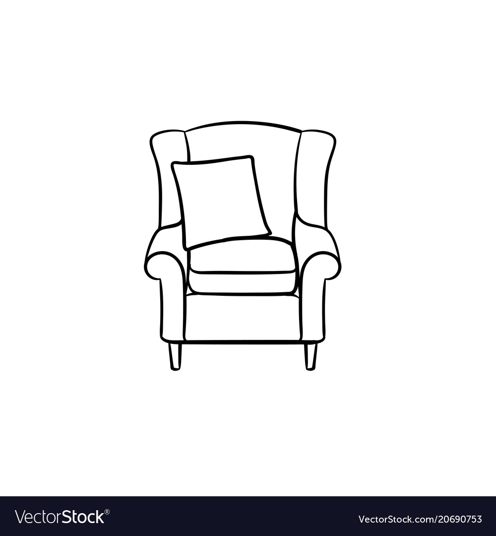 Armchair hand drawn sketch icon