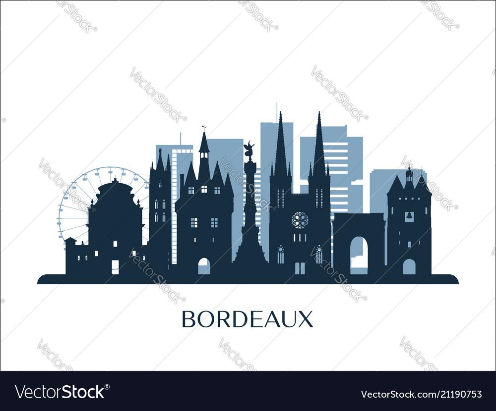 Bordeaux skyline monochrome silhouette