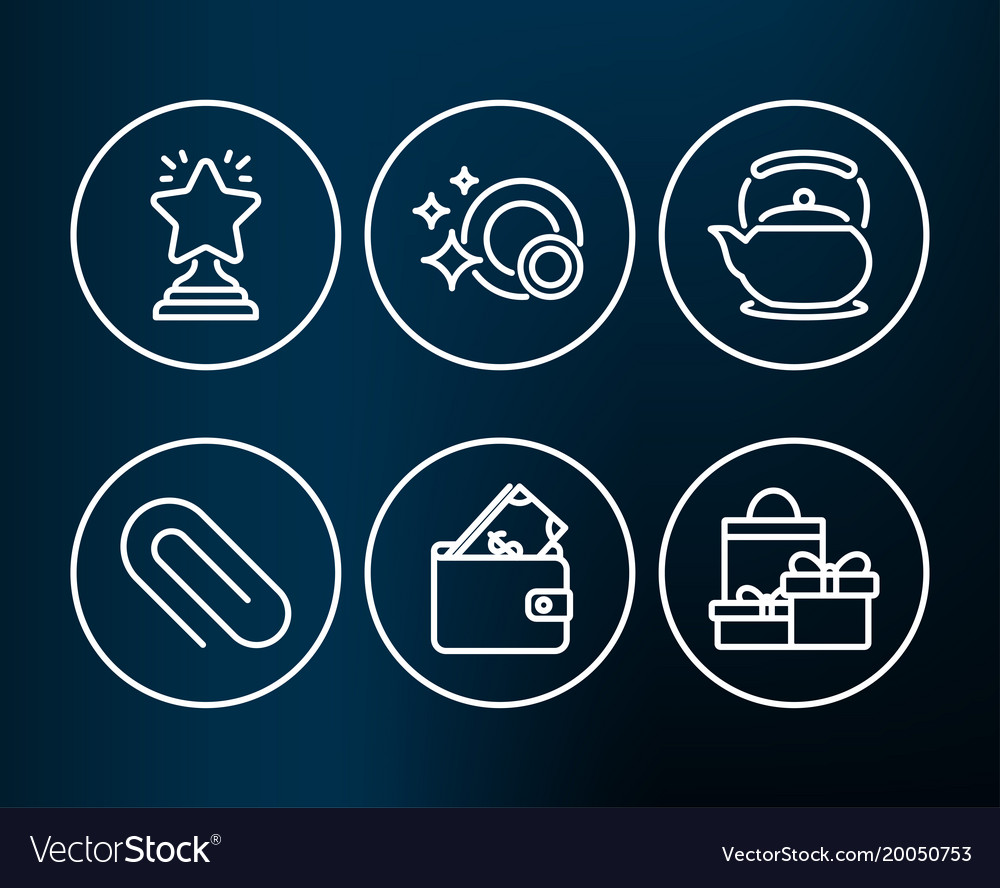 clean dishes winner and paper clip icons wallet vector image