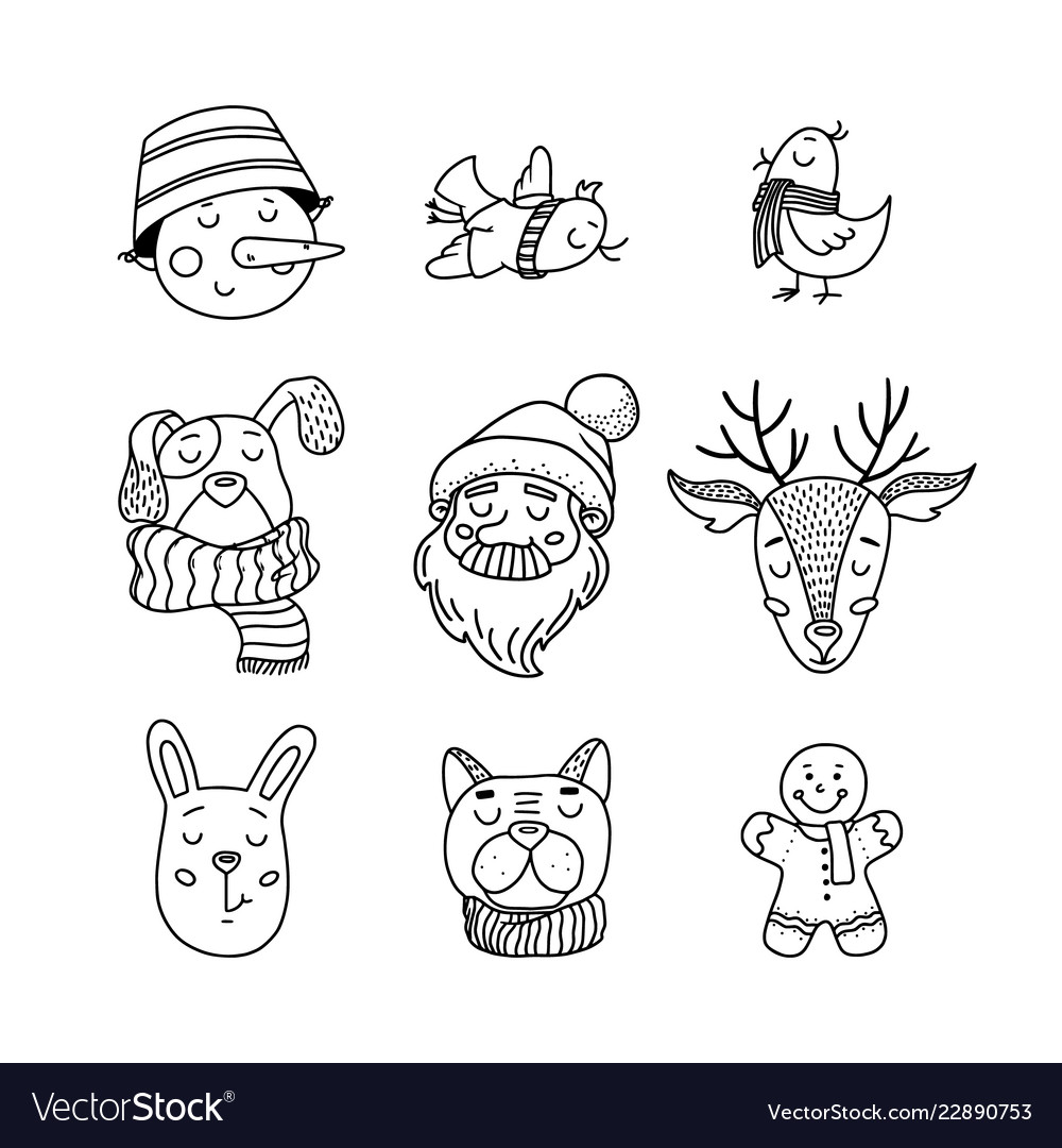 Hand drawn doodle set of christmas characters