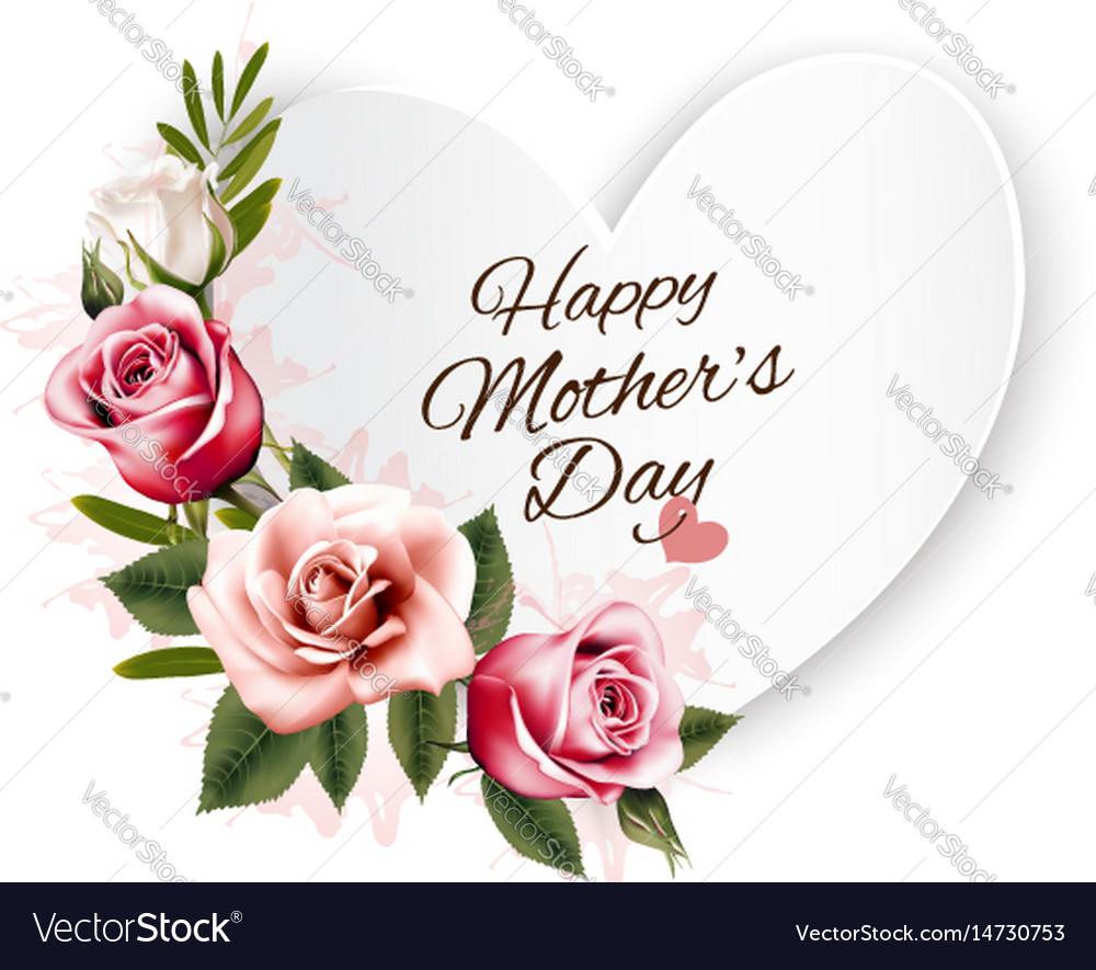Happy mothers day background with a heart-shaped