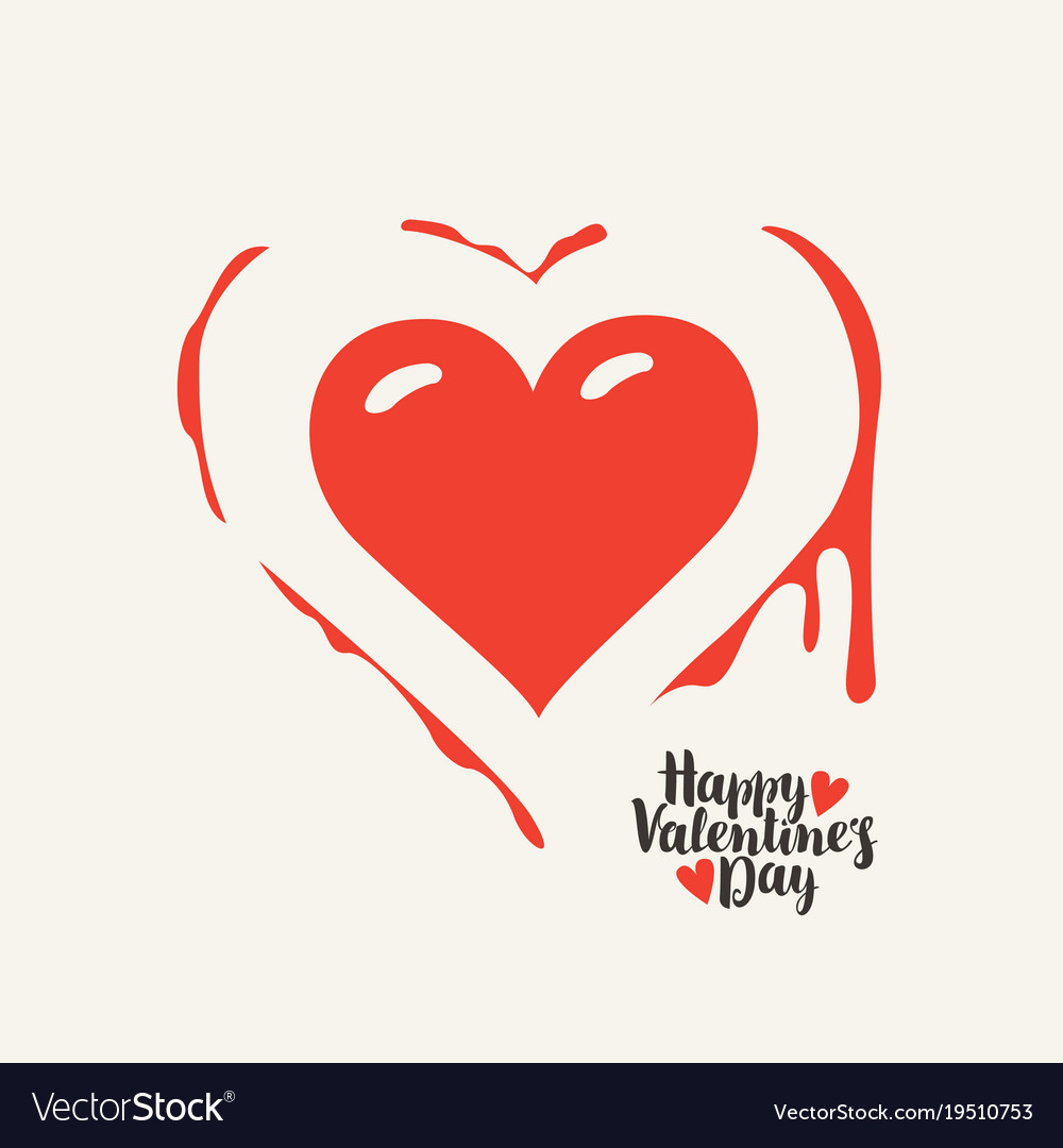 Heart With Blood And Words Happy Valentines Day Vector Image