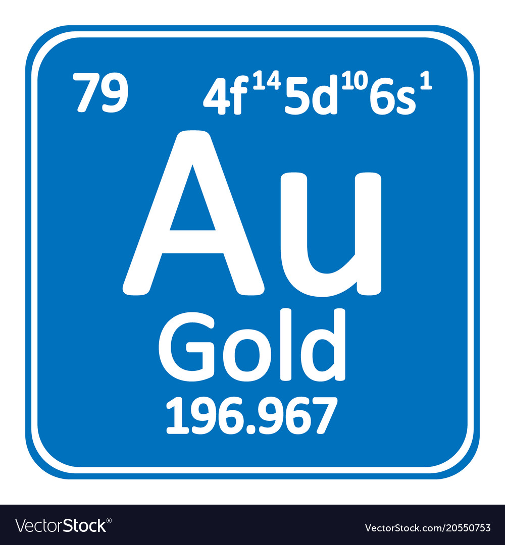 Periodic Table Element Gold Icon Royalty Free Vector Image