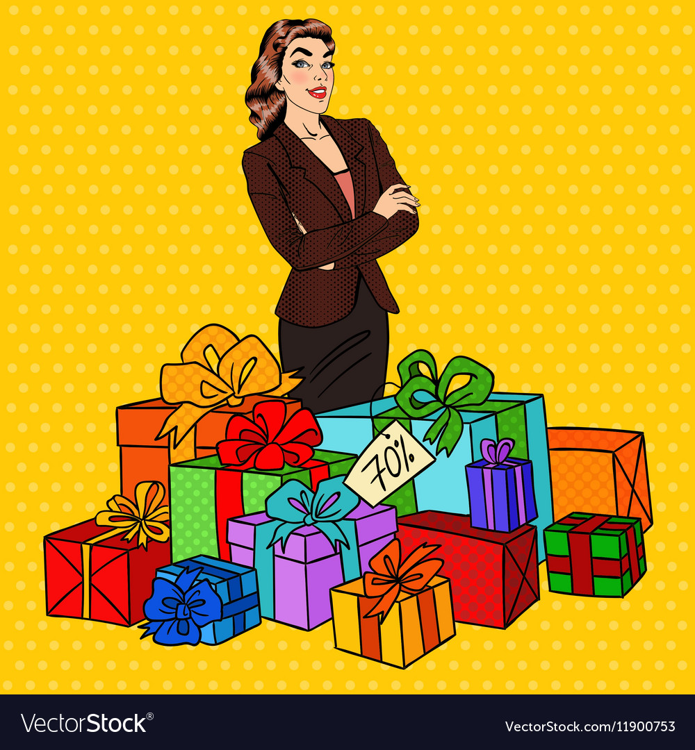 Pop Art Happy Woman with Huge Gift Boxes