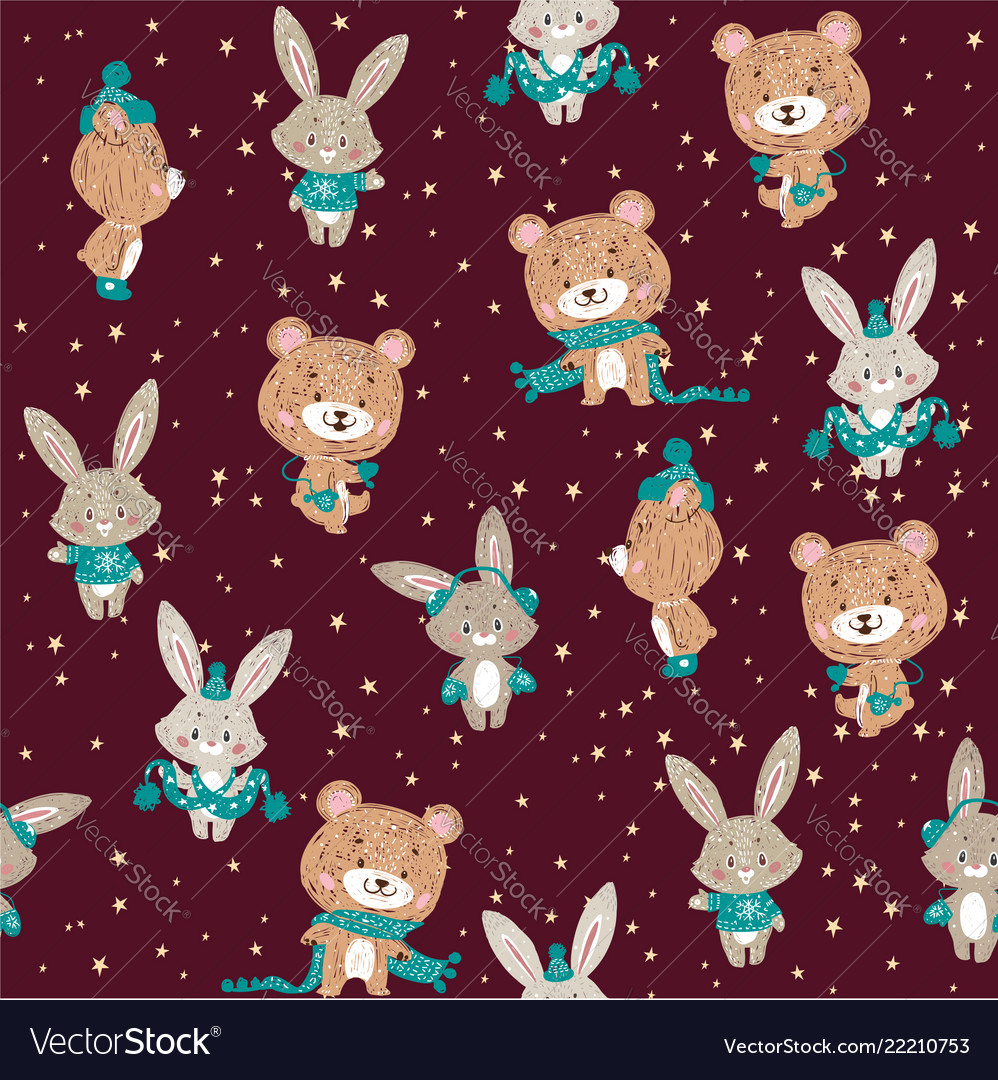 Seamless pattern with cute bunny and bear in
