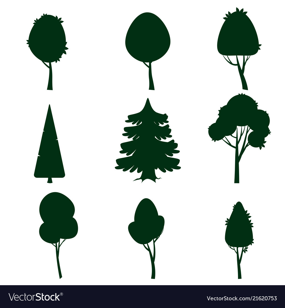 Set of trees silhouette cartoon style isolated