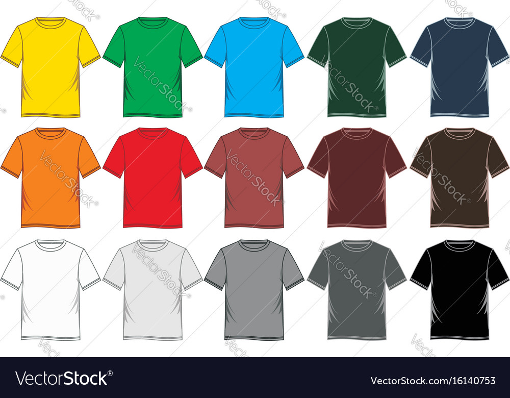Set t shirt graphic blank colorful vector image