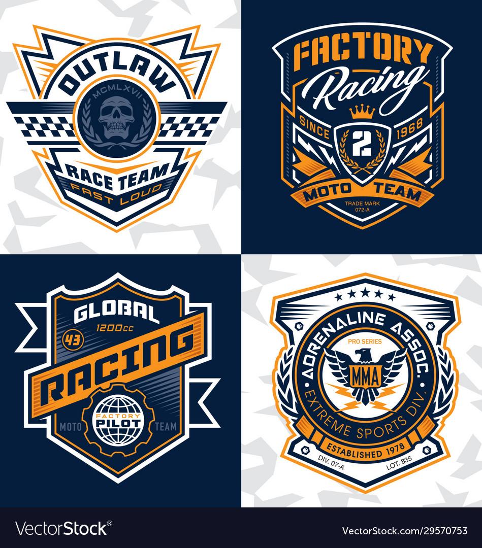 Sports racing emblem crest graphics