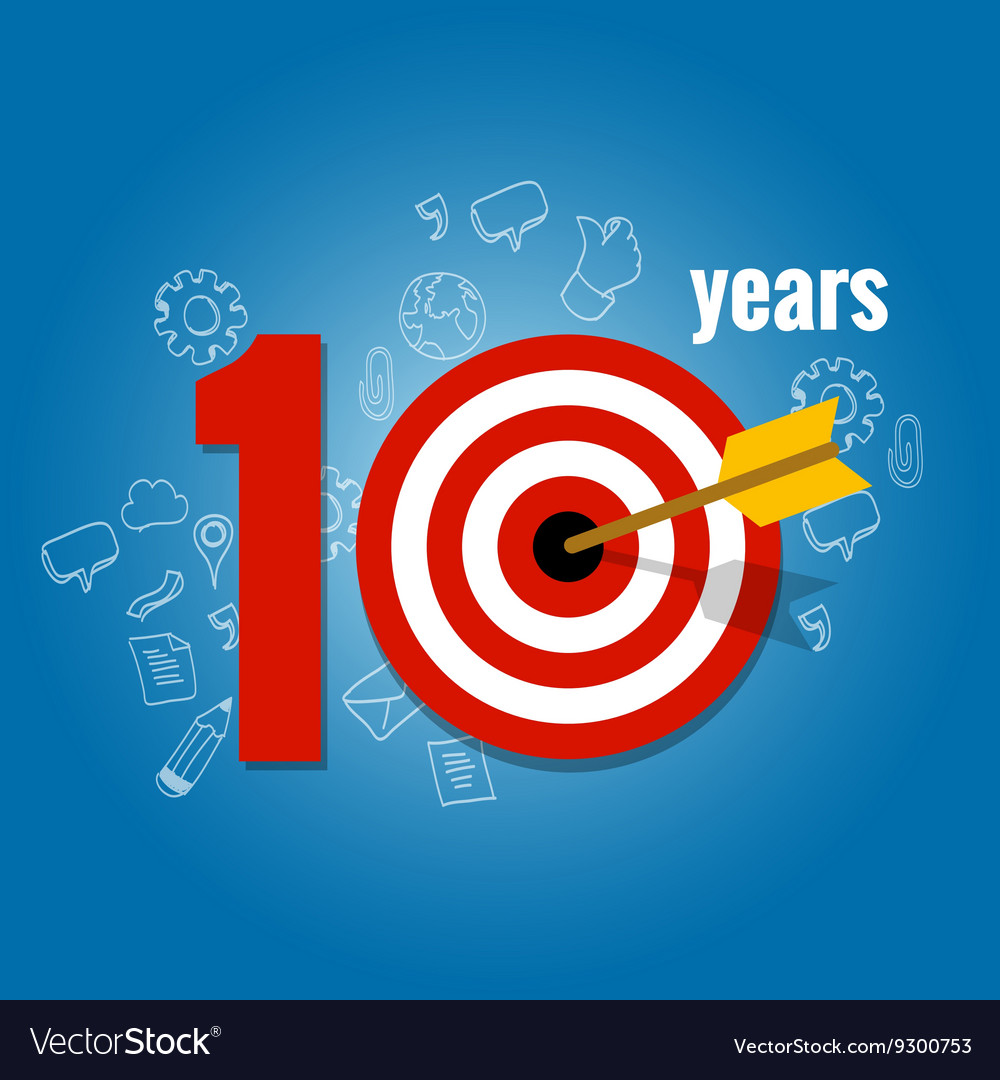 ten years target and plan in business calendar vector image