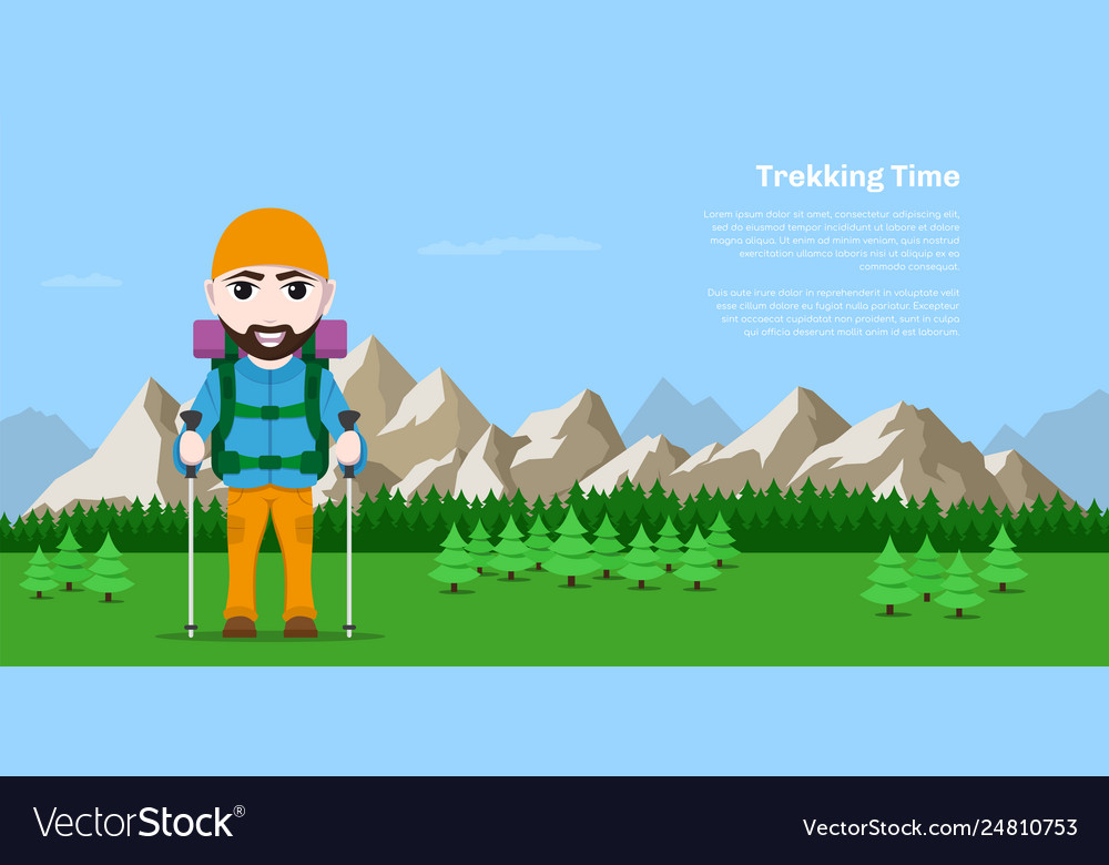 Trekking time concept banner